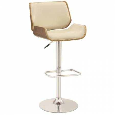 130503 Bar Units and Bar Tables Adjustable Bar Stool with Ecru Upholstery and Wood Back
