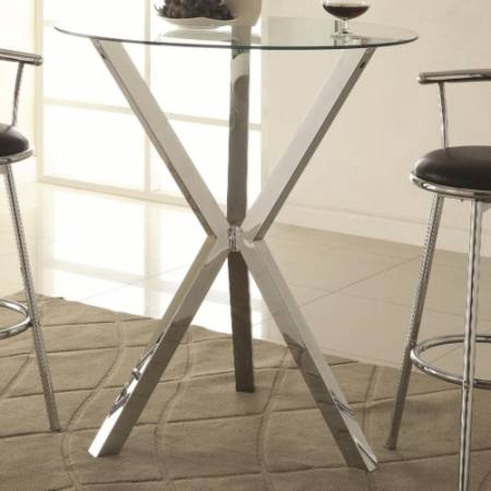 100186 Bar Units and Bar Tables Round Pub Table with Glass Top and X-Shaped Chrome-Colored Base