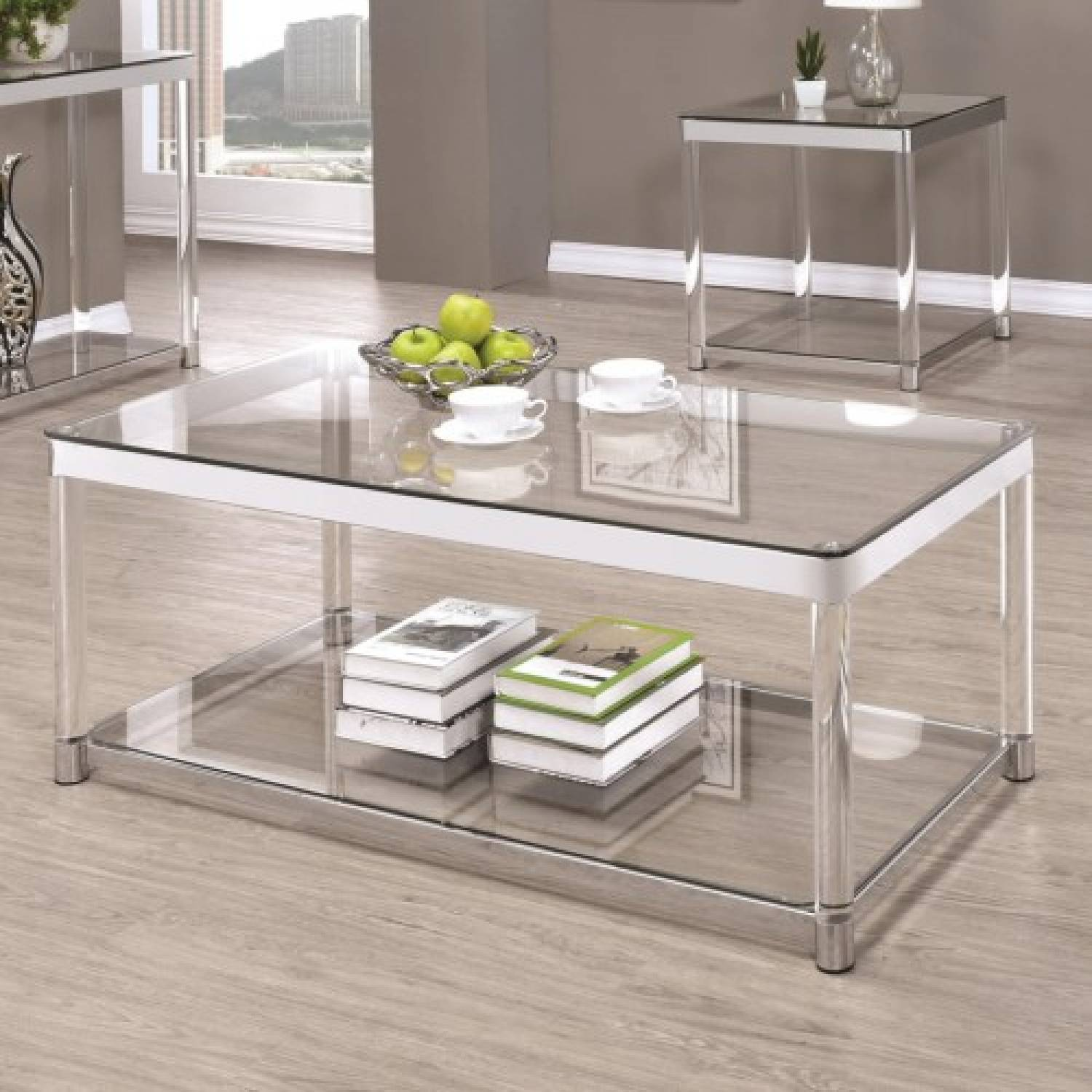 72074 Contemporary Glass Top Coffee Table With Acrylic Legs