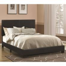 Dorian Black Leatherette Upholstered Queen Bed 300761Q