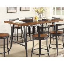 Selbyville Rectangular Counter Height Table with Glass Insert - Cherry/Gunmetal 5489-36