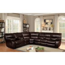 Pecos Reclining Sectional Set - Dark Brown Leather Gel Match