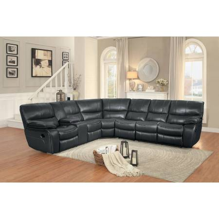 Pecos Reclining Sectional Set - Grey Leather Gel Match
