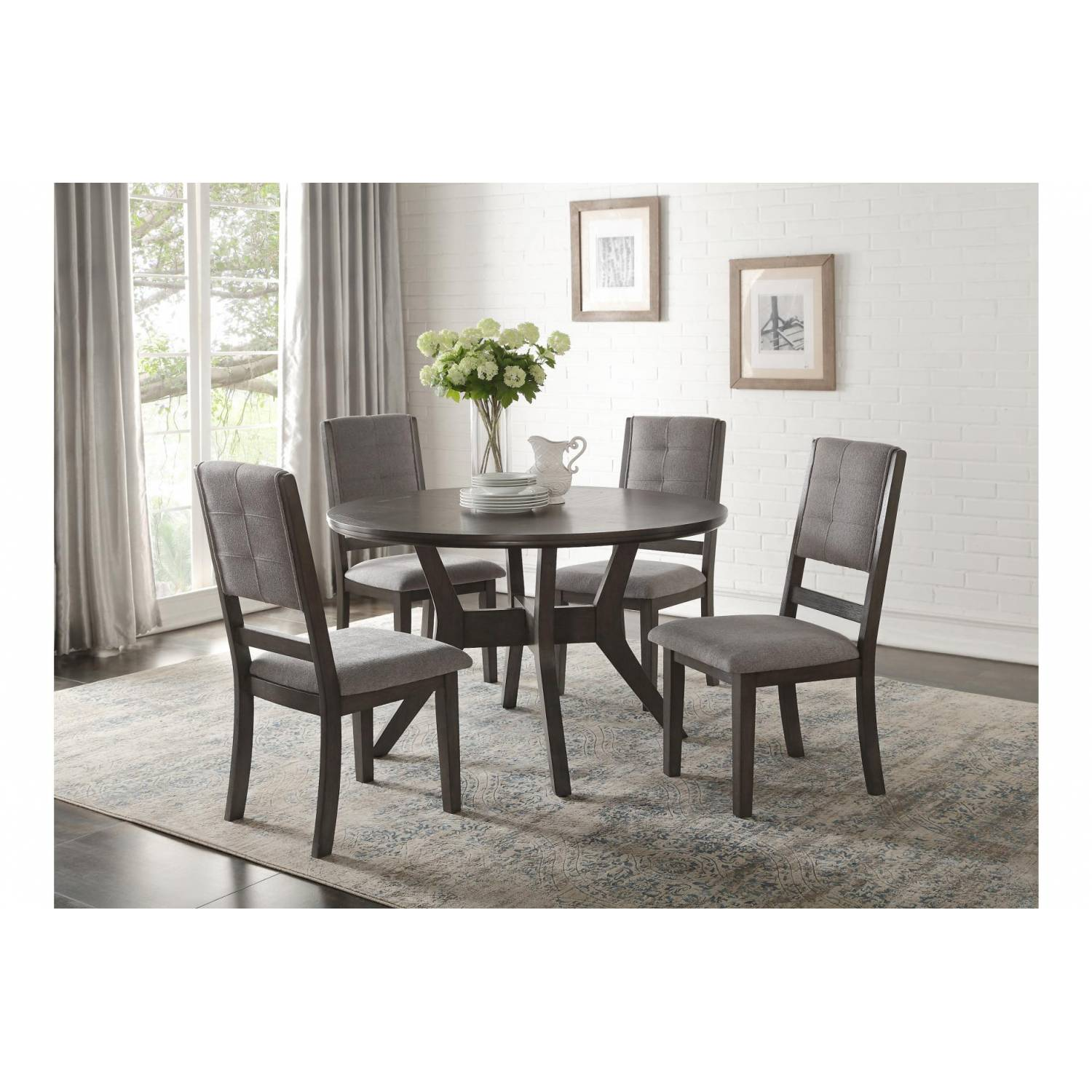 Nisky 5PC SETS Round Dining Table + 4 Side Chairs