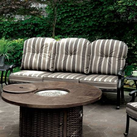 FERNANDA PATIO SOFA Antique Black Frame/Striped Cushion