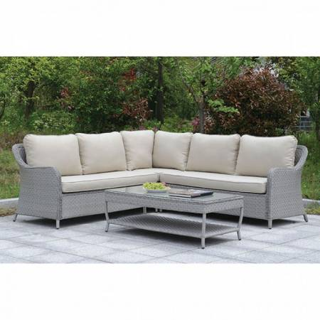 COGSWELL PATIO SECTIONAL W/ COFFEE TABLE Gray finish