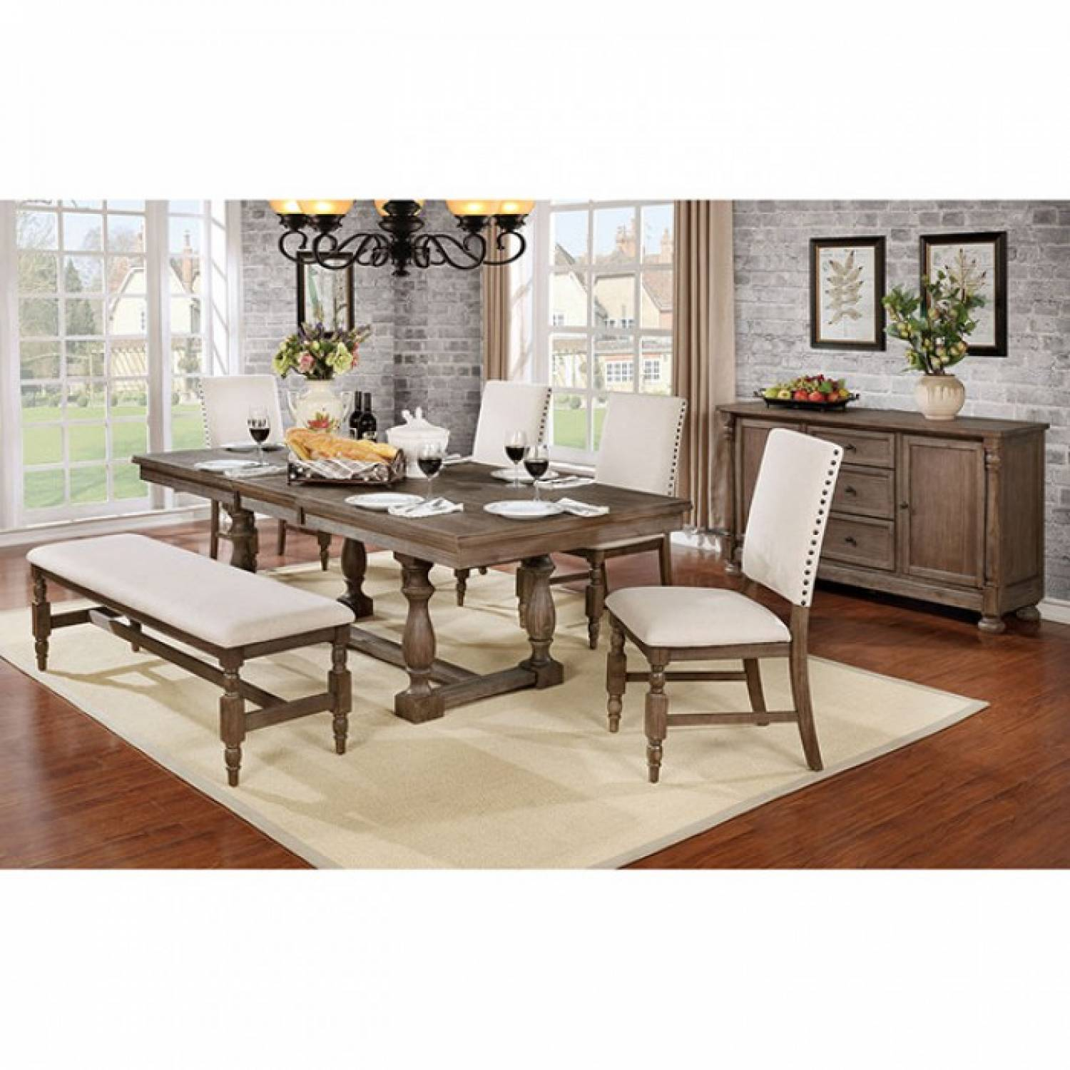 Picture of: Roeselare 6pc Sets Dining Table Wire Brushed Gray Finish