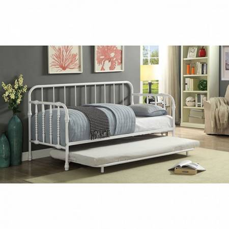 FERN METAL DAYBED W/ TRUNDLE White powder coating finish