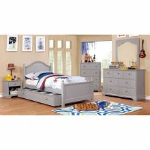 DIANE 4pc sets TWIN BED TRUNDLE Gray finish