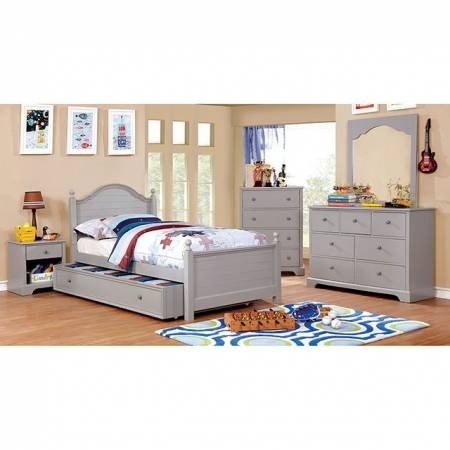 DIANE 4PC SETS FULL BED TRUNDLE Gray finish