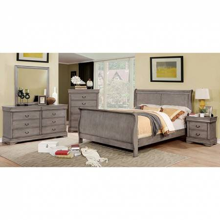 EUGENIA 4PC SETS QUEEN BED Gray finish