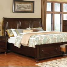 CASTOR CAL.KING BED Brown cherry finish