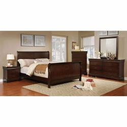 EUGENIA 4PC SETS QUEEN BED Brown cherry finish