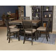 D736 Tyler Creek 7PC SETS RECT Dining Room Counter Table + Upholstered Barstool (6/CN)