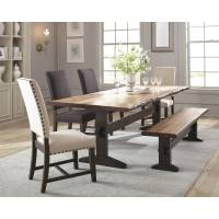 Burnham Rustic Dining Table Set with Bench