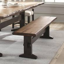 Burnham Two-Tone Live Edge Dining Bench with Trestle Base