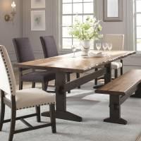 Burnham Two-Tone Live Edge Dining Table with Trestle Base
