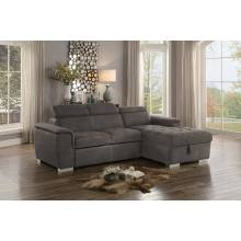 Ferriday Reversible Sleeper Sectional with Hidden Storage - Taupe Fabric