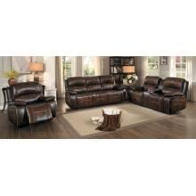 Mahala Reclining Sofa Set 3pcs - Brown Top Grain Leather Match