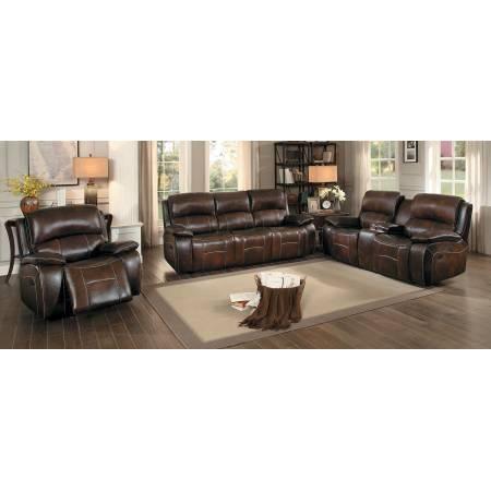 Mahala Power Reclining Sofa Set 3pcs - Brown Top Grain Leather Match
