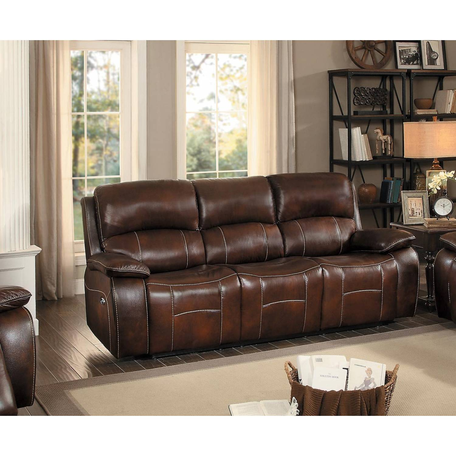 Astounding Mahala Power Double Reclining Sofa Brown Top Grain Leather Match Bralicious Painted Fabric Chair Ideas Braliciousco