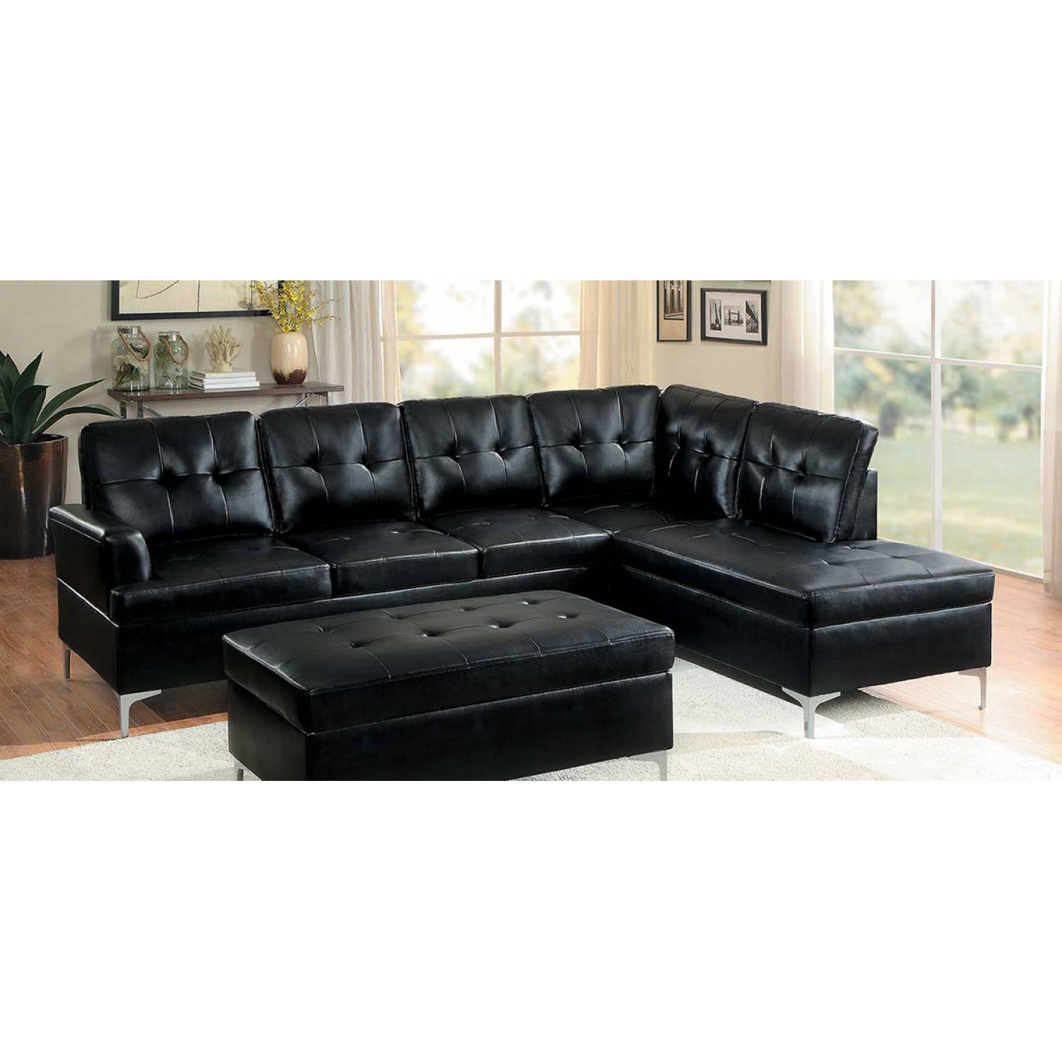 Barrington Sectional Sofa   Black Bi Cast Vinyl