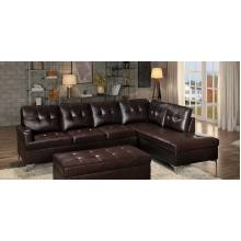 Barrington Sectional Sofa - Brown Bi-Cast Vinyl