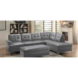 Barrington Sectional Sofa - Gray Bi-Cast Vinyl (2PC)