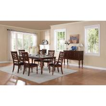 Creswell Leg Table 7 PC Dining Set - Rich Cherry