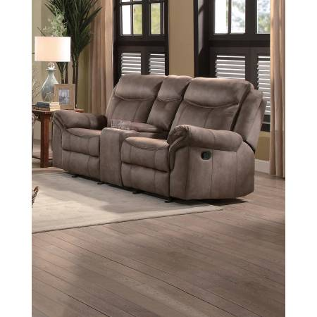 ARAM Double Glider Reclining Love Seat with Center Console and Receptacles Brown