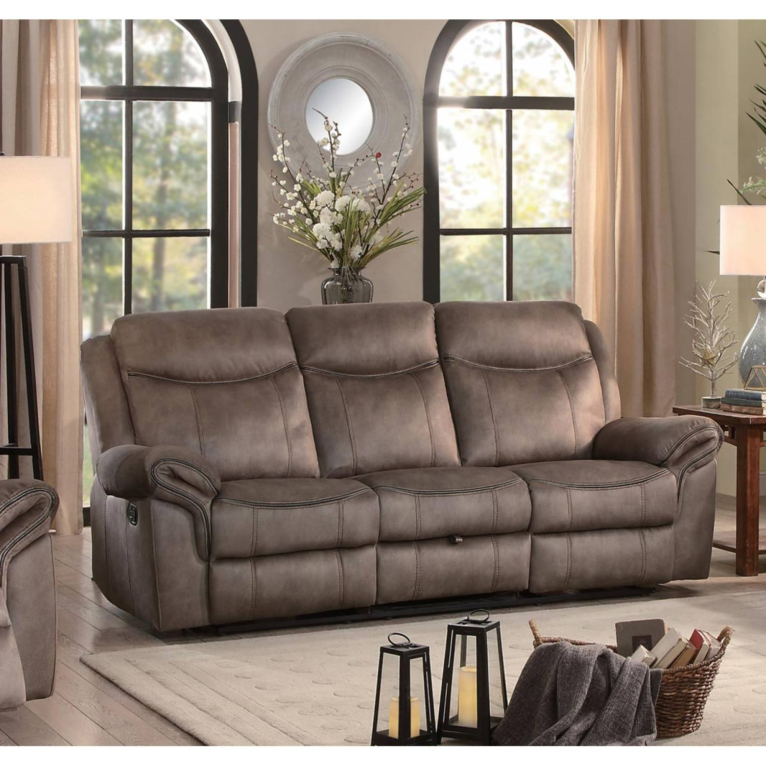 Picture of: Aram Double Reclining Sofa With Center Drop Down Cup Holders Receptacles And Hidden Drawer Brown
