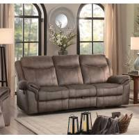 ARAM Double Reclining Sofa with Center Drop-Down Cup holders, Receptacles and Hidden Drawer Brown
