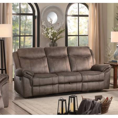 ARAM Double Reclining Sofa with Center Drop-Down Cup Holders Dark Brown