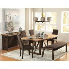 COMPSON Group 7 Pc Dining set Walnut veneers
