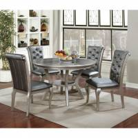 AMINA ROUND DINING TABLE 5PC SETS Champagne Finish