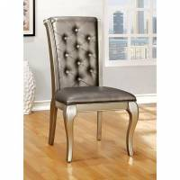 AMINA SIDE CHAIR (2/BOX) Champagne Finish