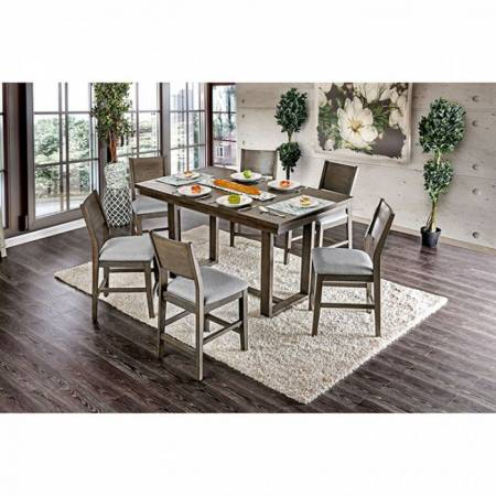 ANTON II COUNTER HT. TABLE 7PC SETS Gray Finish