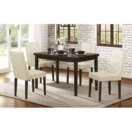 Ahmet 5PC SETS TABLE+ 4 CHAIRS - Espresso