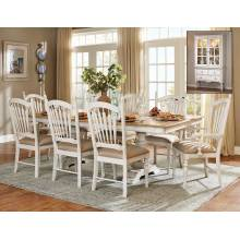 Hollyhock 7PC SETS TABLE+  4 SIDE CHAIRS +2 ARM CHAIRS - Distressed White/Oak