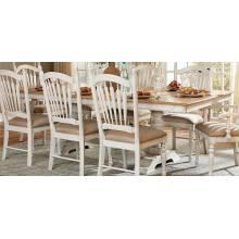 Hollyhock Trestle Pedestal Dining Table - Distressed White/Oak