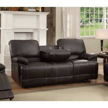 Cassville Double Reclining Sofa with Center Drop-Down Cup Holders - Dark Brown