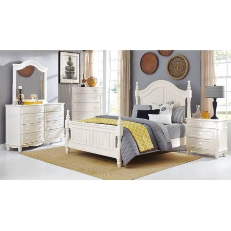 Clementine Bedroom Set 4 Pc - White (QB+NS+DR+MR)