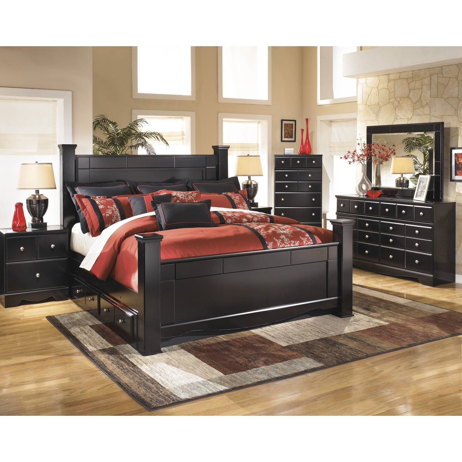 B271 Shay King Poster Under Bed Storage Bedroom Sets 4 Piece