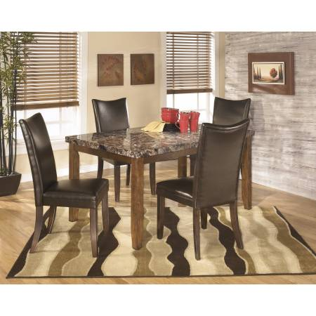 D328 Lacey 5PC SETS TABLE & 4 CHAIRS Medium Brown