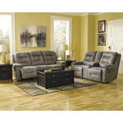 97501 Rotation 2 pc Reclining Power Sofa + DBL REC PWR Loveseat w/Console