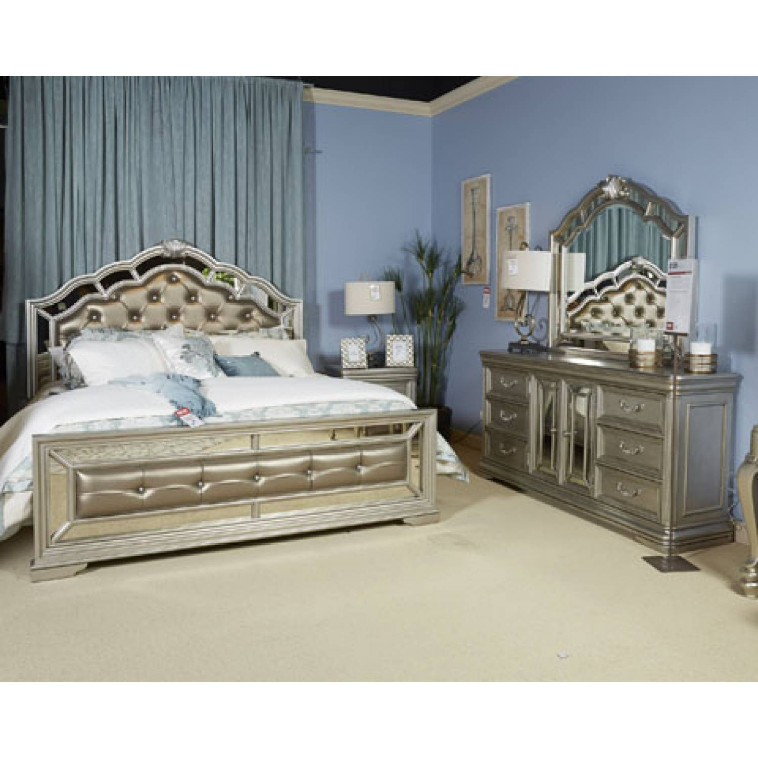 Wonderful Upholstered Bedroom Set Interior