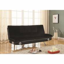 Futons Black Leatherette Sofa Bed with Bluetooth Speakers