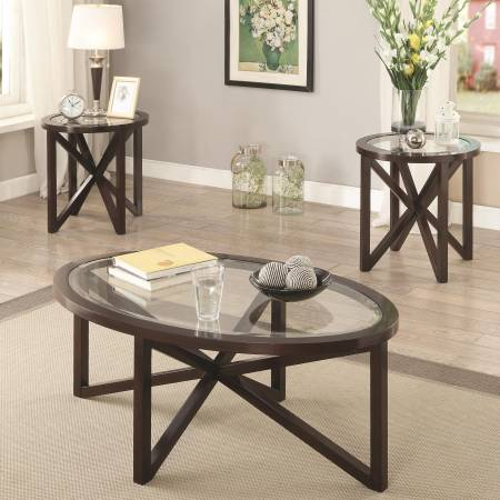 3 Piece Occasional Table Sets 3 Piece Accent Table Set with Tempered Glass Top