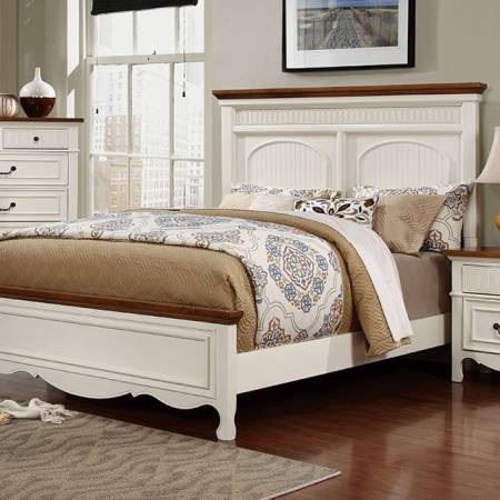 GALESBURG Queen Bed - White & Oak