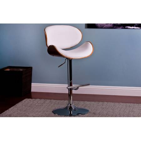 ACBS34 MODERN WHITE UPHOLSTERED ADJUSTABLE BARSTOOL